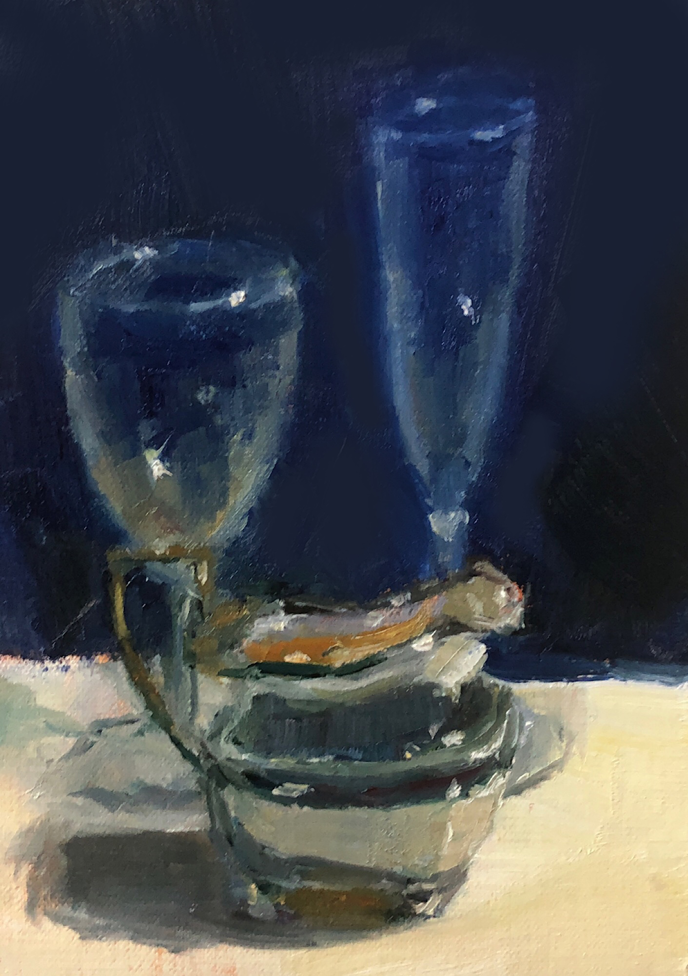 "Geoff Watson, ""Silver pitcher (in progress),"" oil on linen, 5"" x 7,"" 2019."