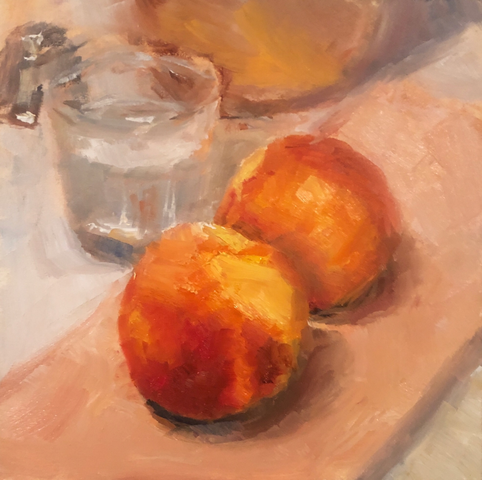 "Geoff Watson, ""Peaches and a glass of water (in progress),"" oil on panel, 6"" x 6,"" 2019."