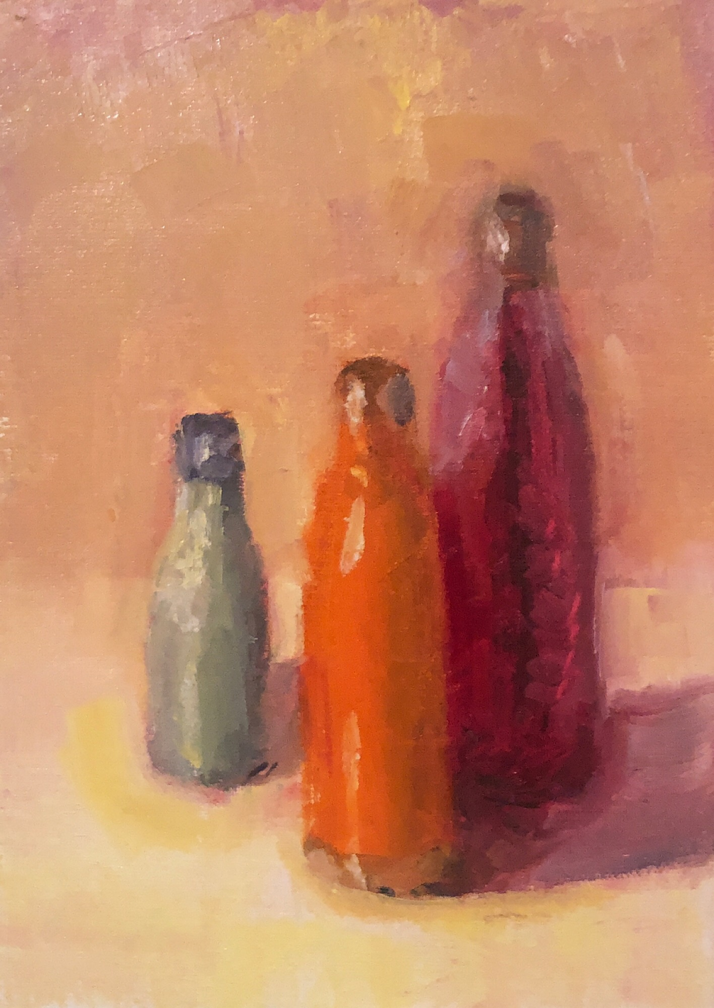 "Geoff Watson, ""Water bottles (in progress),"" oil on linen, 5"" x 7,"" 2019."