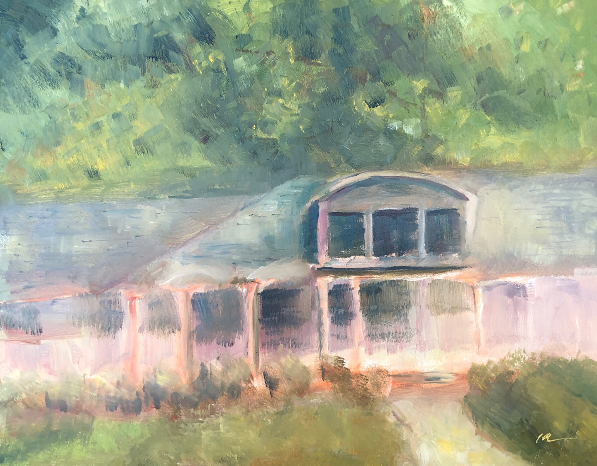 """Geoff Watson, """"Neighbor's house,"""" oil on panel, 11"""" x 14,"""" 2019."""