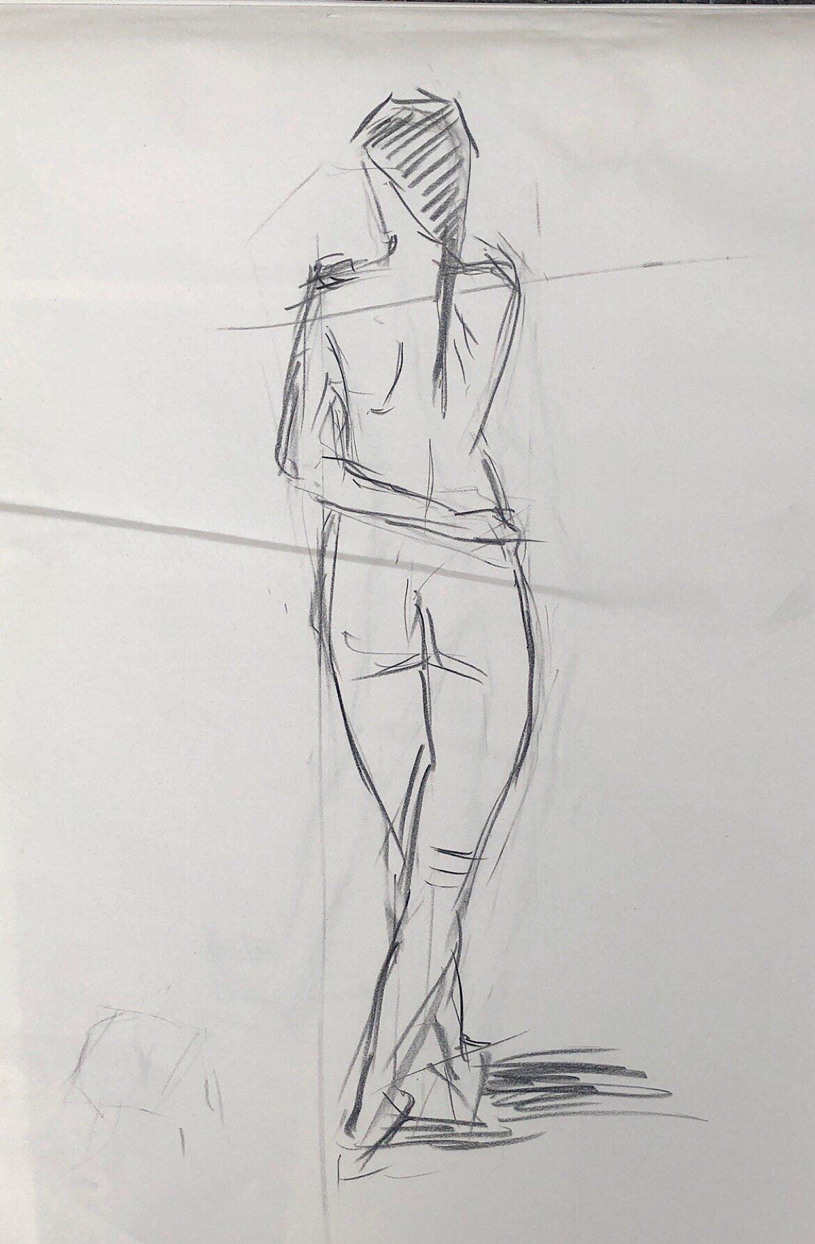 "Geoff Watson, ""Gesture study #2,"" charcoal on paper, 18"" x 24,"" 2019."