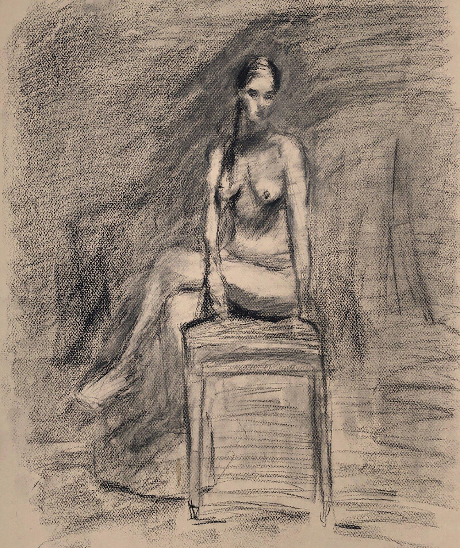 "Geoff Watson, ""Sketch of Dakota,"" charcoal on paper, 18"" x 24,"" 2019."