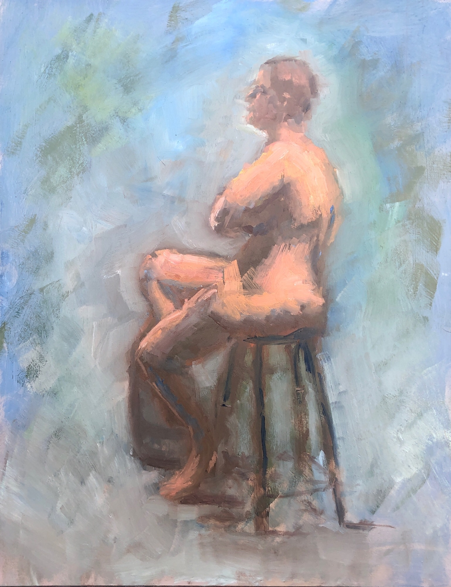 """Geoff Watson, """"Study of Emily seated,"""" oil on panel, 11"""" x 14,"""" 2019."""