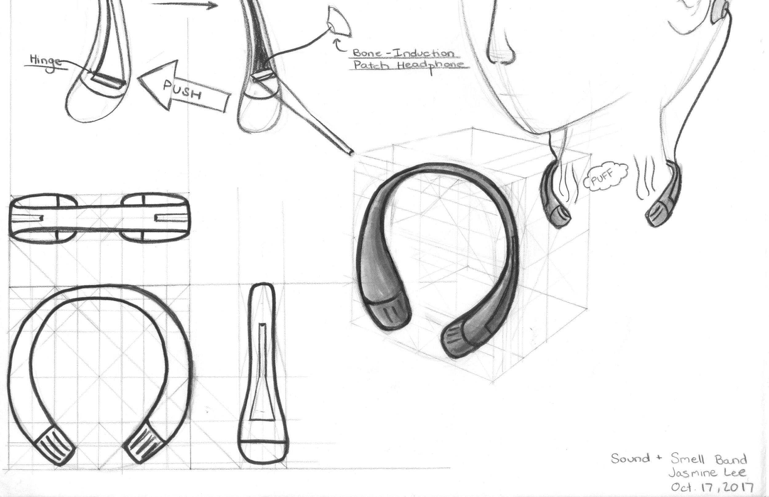 Augmented Combined Senses Concept: Neck Band with Induction Tabs and Diffuser
