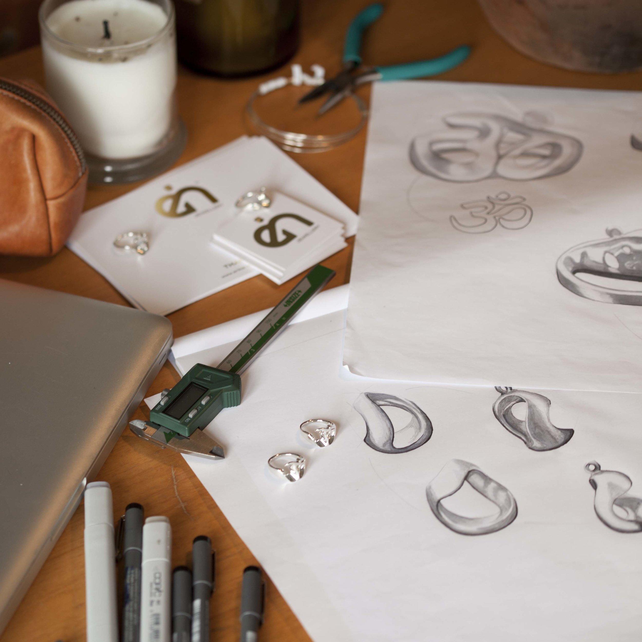 Erika Hansen jewellery design sketching