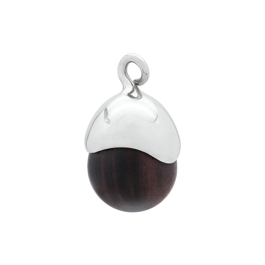 Acorn Pendant in Sterling Silver & Ebony