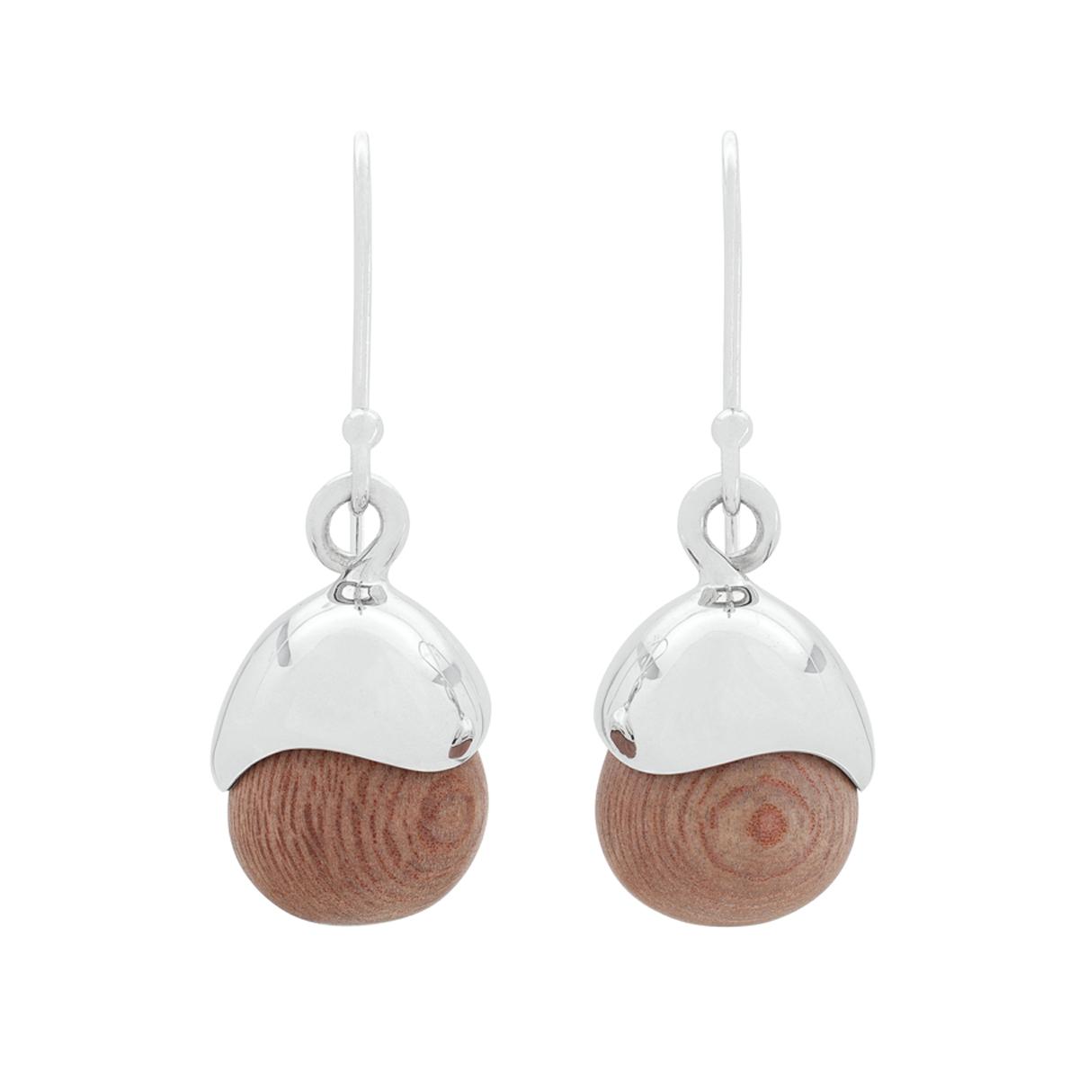 Acorn Earrings in Sterling Silver & Rosewood