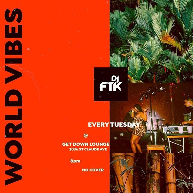 Super excited to announcement World Vibes is BACK! Started tonight. 8pm, lucky guests will win free shots. This is my passion project, a space that's a melting pot of music. Come get a taste of your own roots or someone elses.  Afrobeats, Afrohouse, Calypso, Soca, Dance Hall, Reggae, Reggaeton, Bachata, Salsa, and even a little bit of our own bangers blended in. Happening every Tuesday in a brand new space, the @getdownnola ! A beautiful intimate new (black owned) venue. So I'm not sure what more you can ask for!