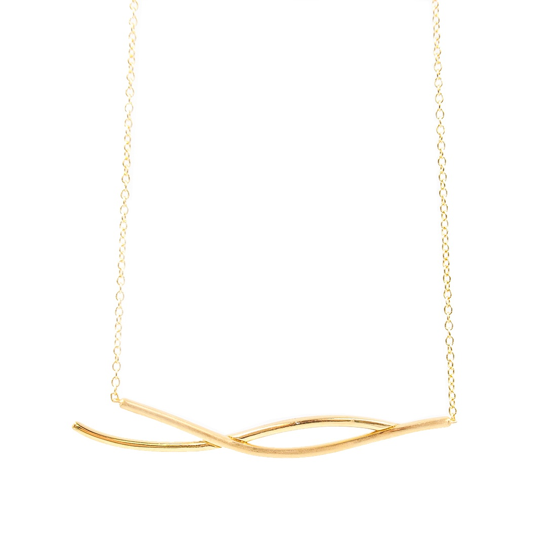 Two Crossing Lines Necklace | 18K yellow gold