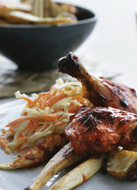 Barbecue kylling (Dansk)   Barbecued chicken (English)   Binarbekyung manok (Tagalog)