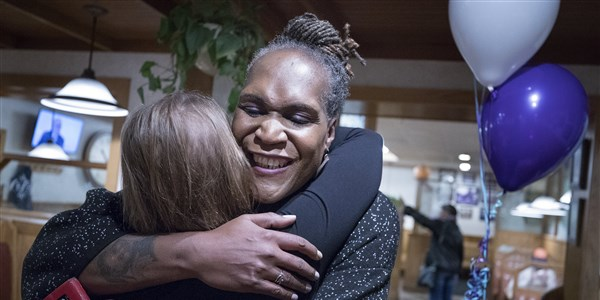 Jenkins embracing a supporter after her historic win is announced Nov. 7th 2017 Photo Credit: Carlos Gonzales |AP