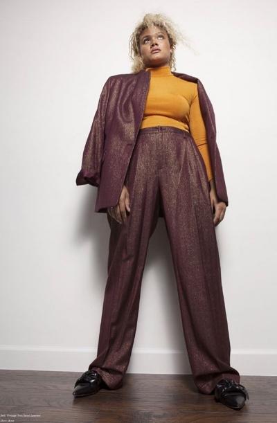 Yamani modeling a vintage Yves Saint Laurent suit.Photo courtesy Darling Magazine issue 22.
