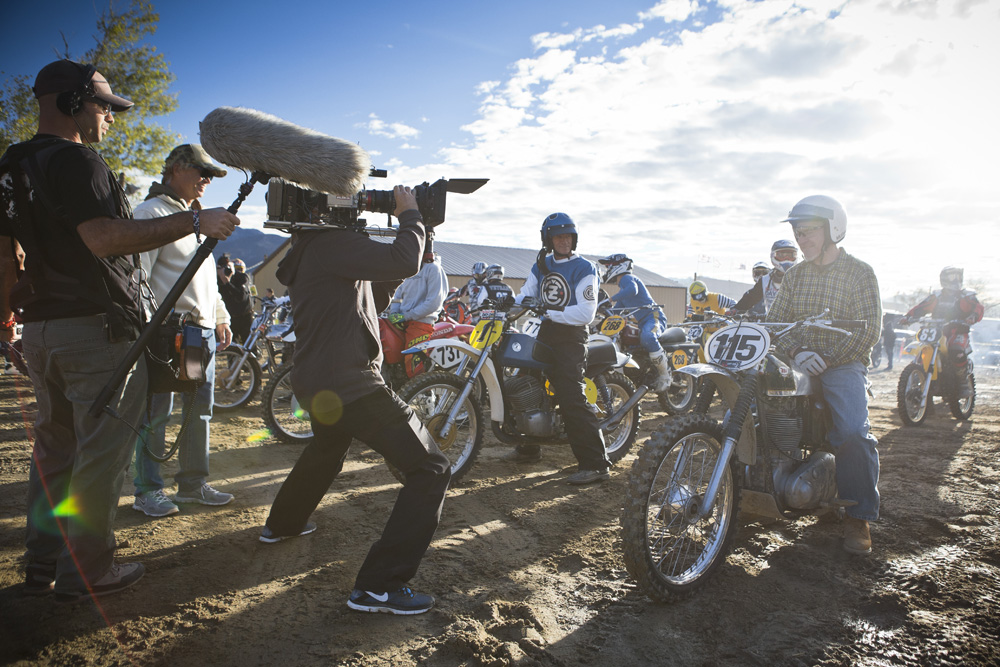 "Event participants and crew in action while filming for ""On Any Sunday; The Next Chapter"" at Red Bull Day in the Dirt at Glen Helen Motorsports Park in San Bernardino, California, USA on 30 November, 2013."