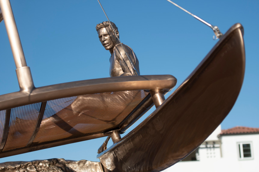 """The Hobie Memorial Statue is titled """"Hobie Riding the Wave of Success"""" in Dana Point on Monday, December 3, 2018. (Photo by Paul Rodriguez, Contributing Photographer)"""