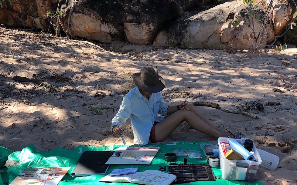 Makeshift studio, Manning Gorge, Kimberley Region WA, 2018.