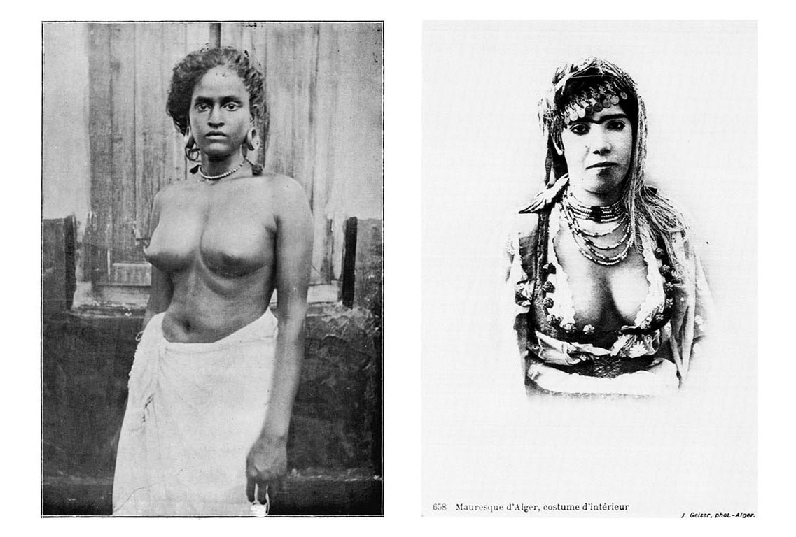 Left:  Photograph of A Thiyya woman from Castes and Tribes of Southern India, by Edgar Thurston. Published by Government Press Madras, 1909.   Right:  Photograph of an Algerian woman from The Colonial Harem by Malek Alloula, translated by Myrna Godzich and Wlad Godzich. Published by the University of Minnesota Press, 1986.