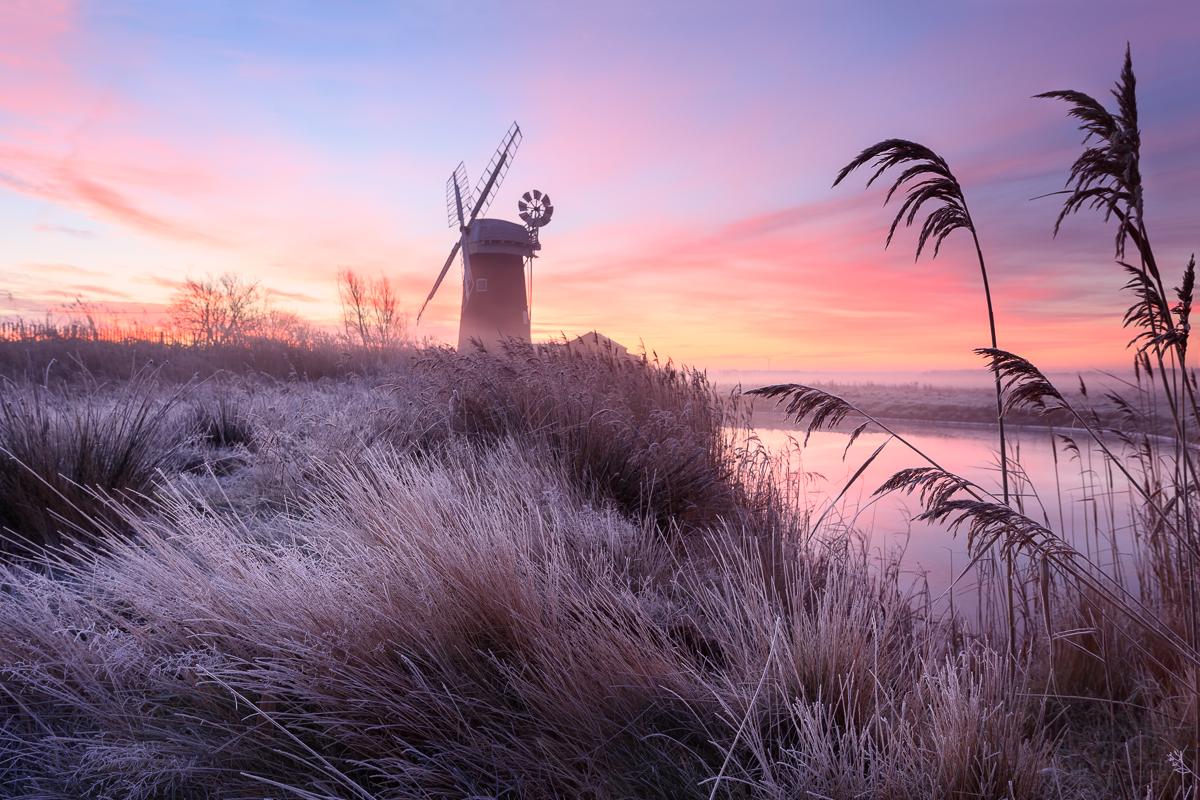 Horsey windpump, Norfolk on a frosty morning