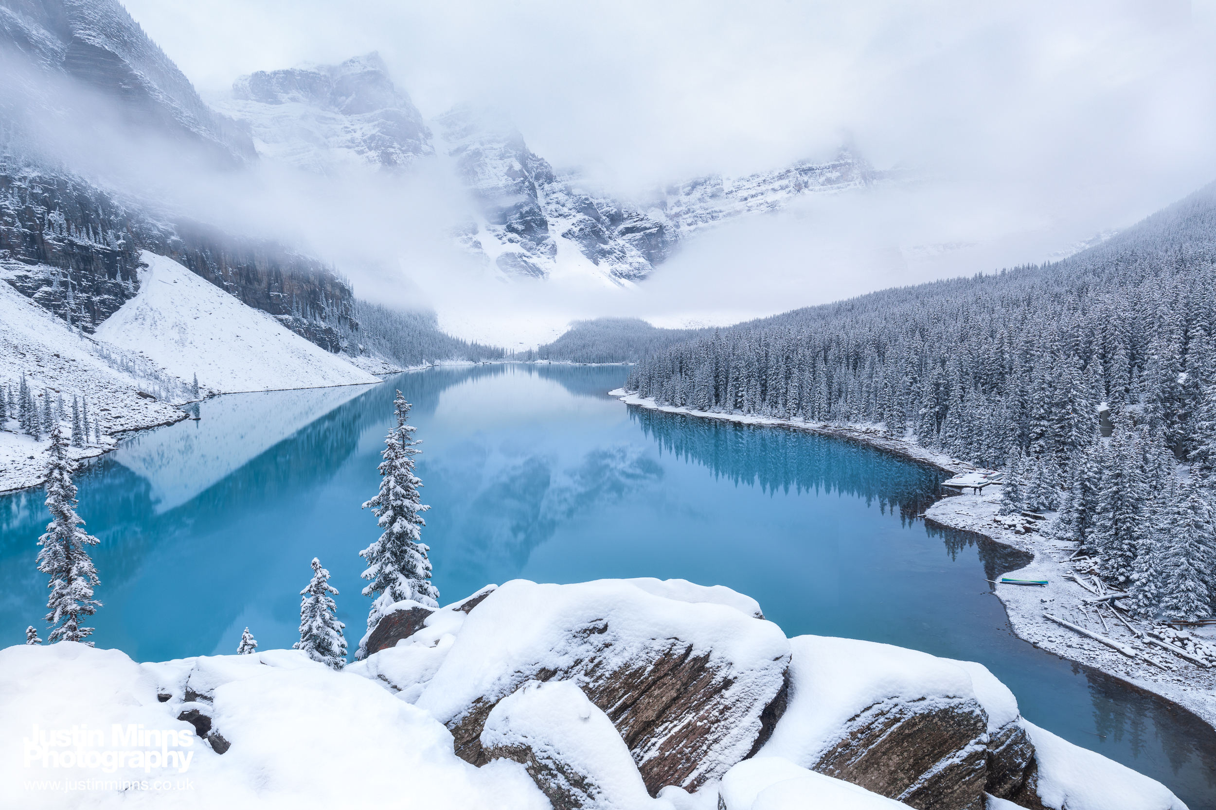 Moraine Lake early on a cold morning