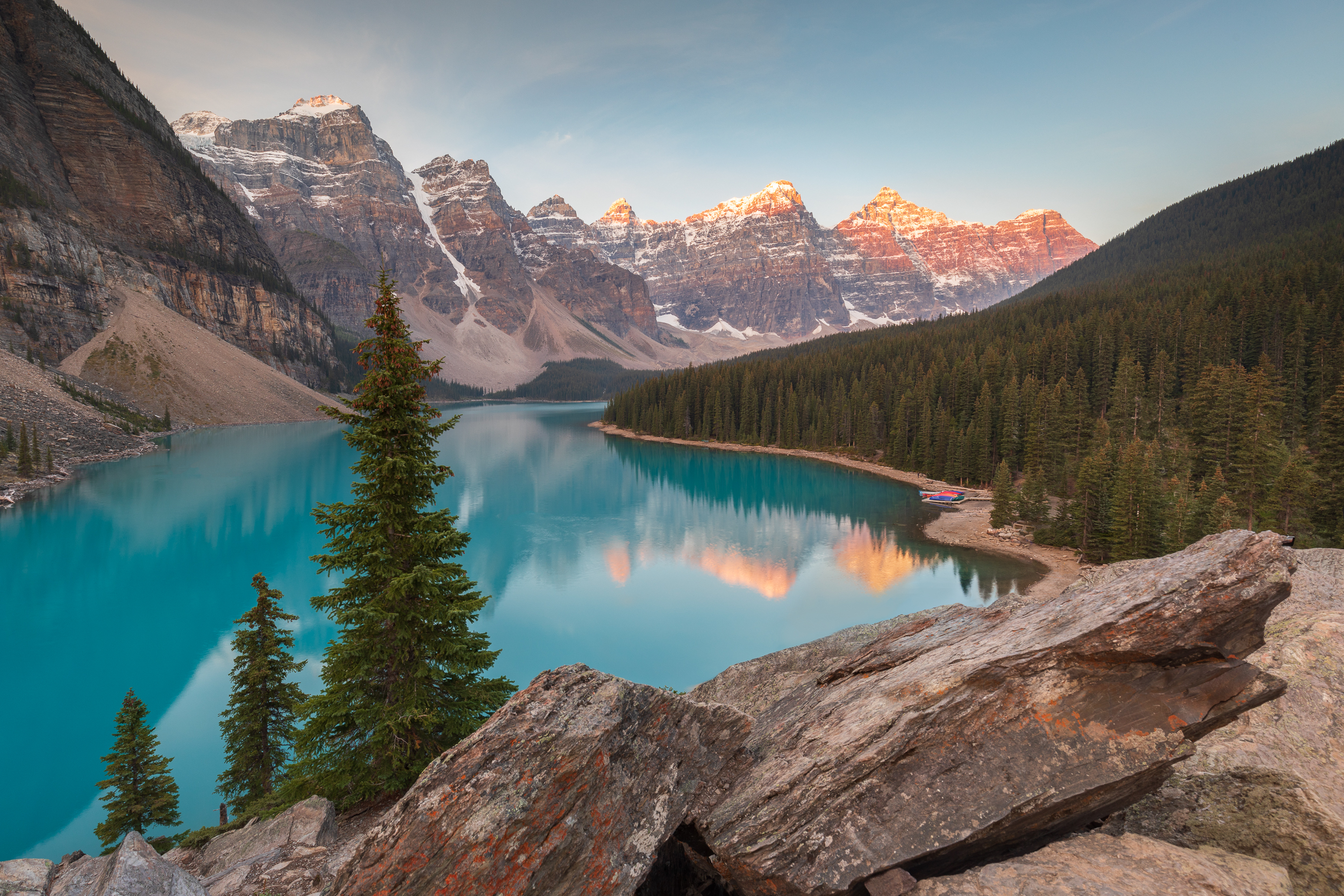 Moraine Lake on a sunny evening in September