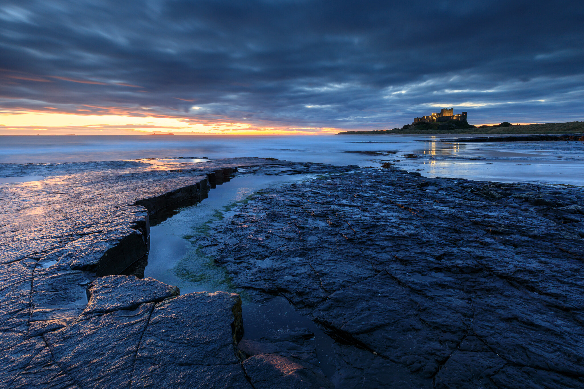 Blue hour at Bamburgh Castle, Northumberland