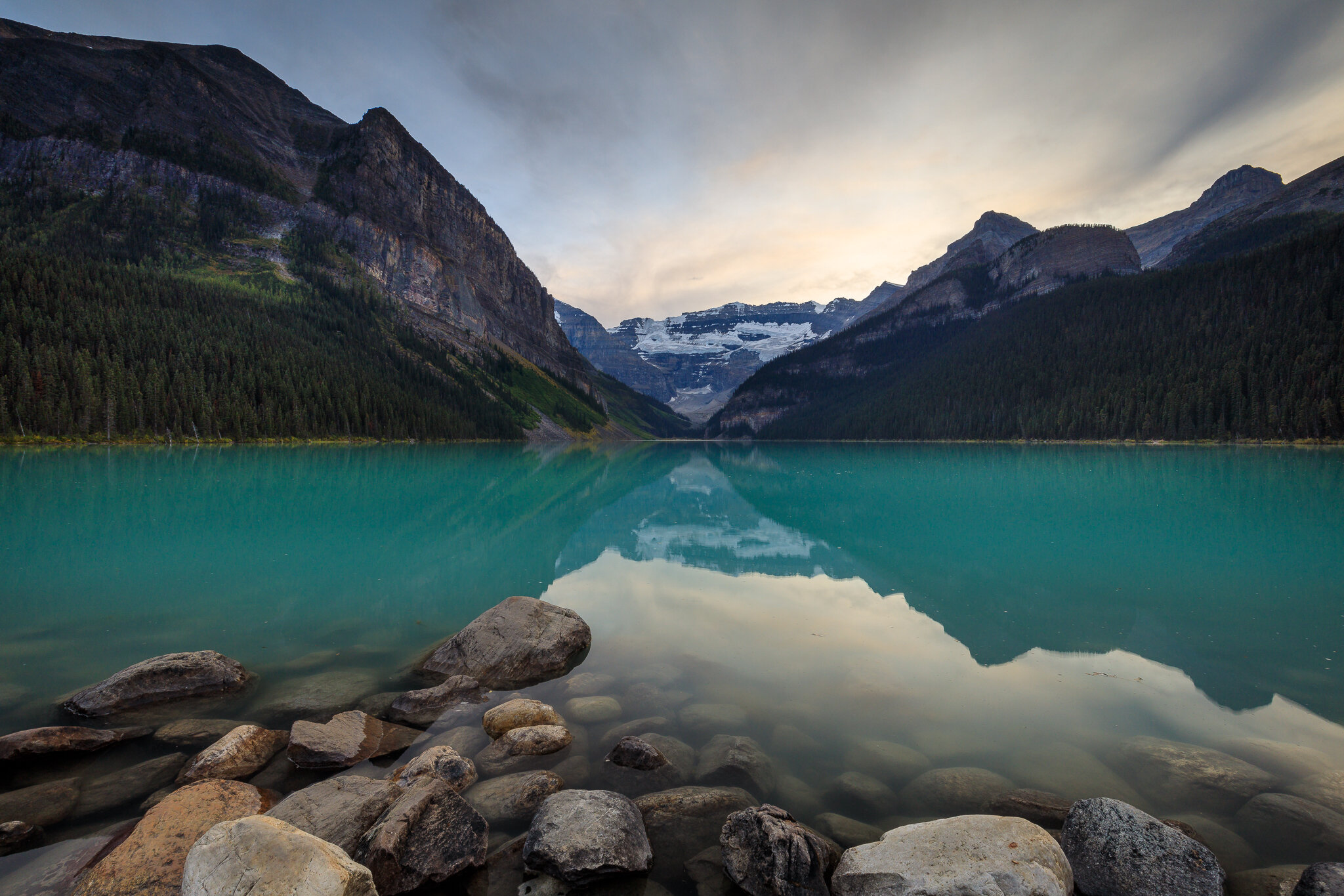 A calm evening at Lake Louise, Alberta