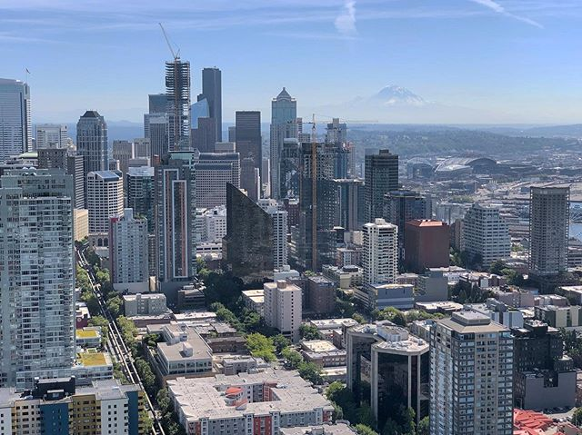 Beautiful Seattle with Mt. Rainier looming large beyond the horizon