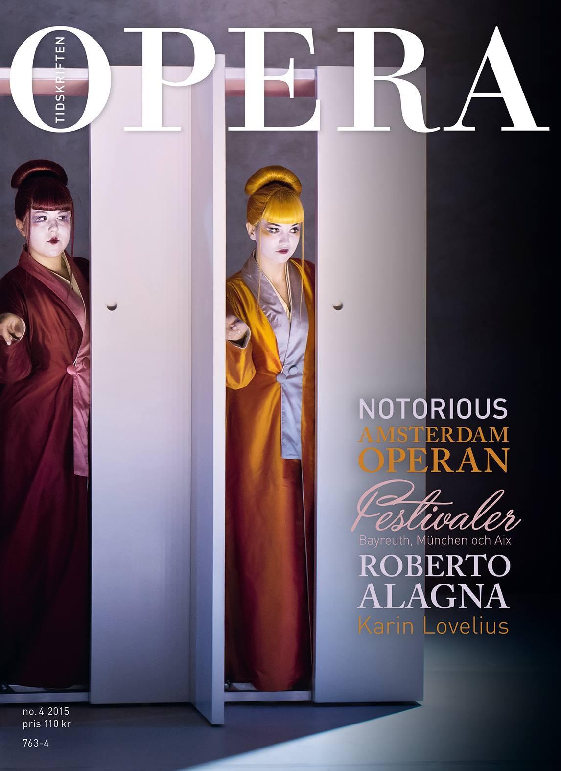 Cover of Sweden's opera magazine  Tidskriften   September 2015   Photo by Markus Gårder