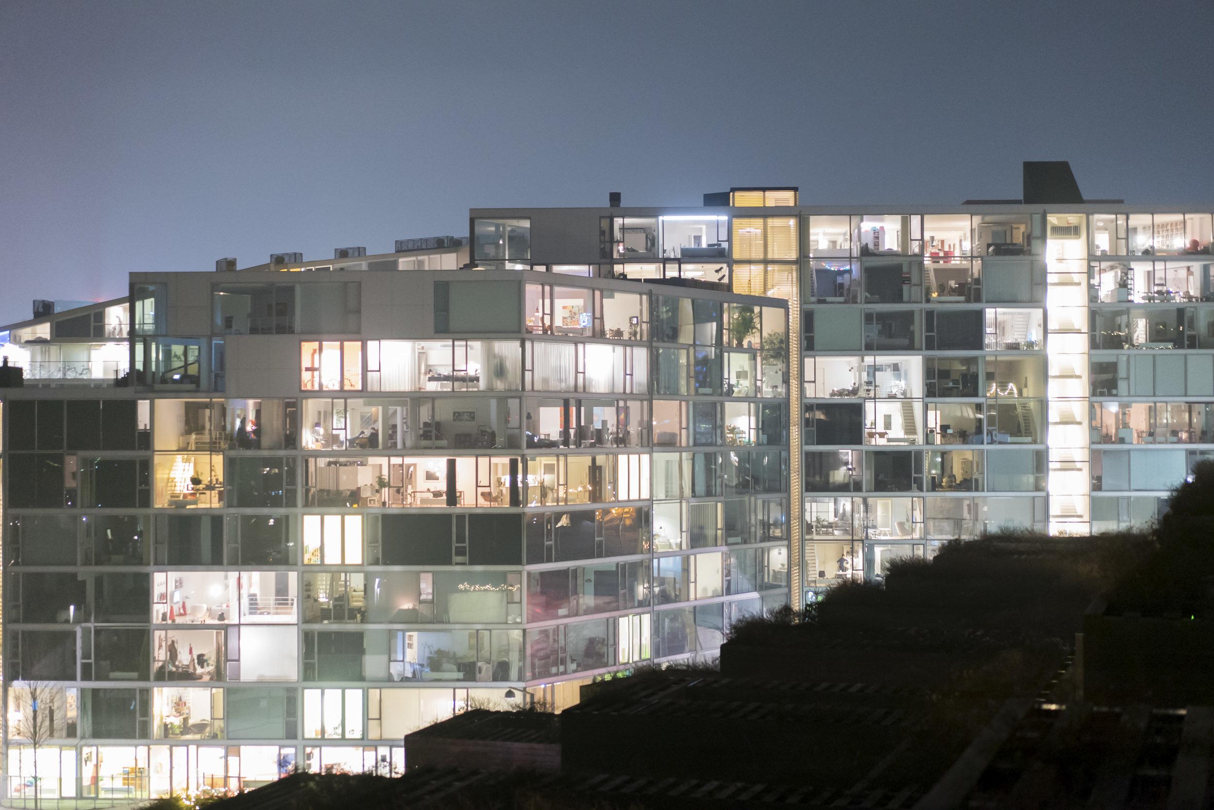 VM Houses exterior at night