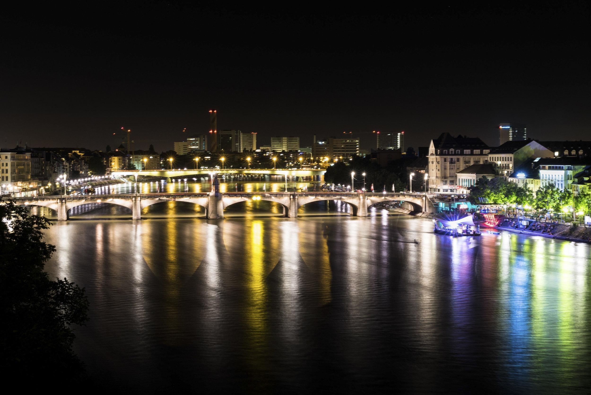 Mittlere Brücke Basel at night - Switzerland