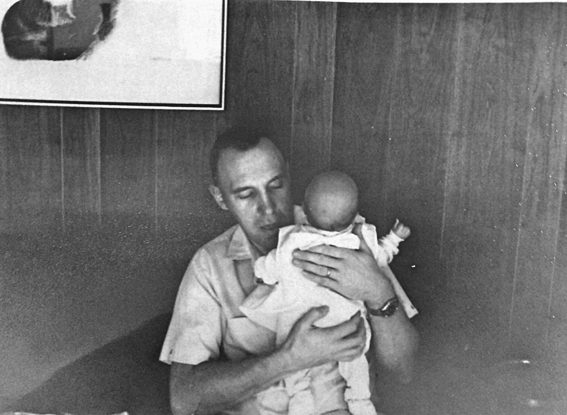Meeting Dad for the first time at 30 days old. Concerned about the rising conflict in Viet Nam, they decided Mom would return to Canada to deliver.