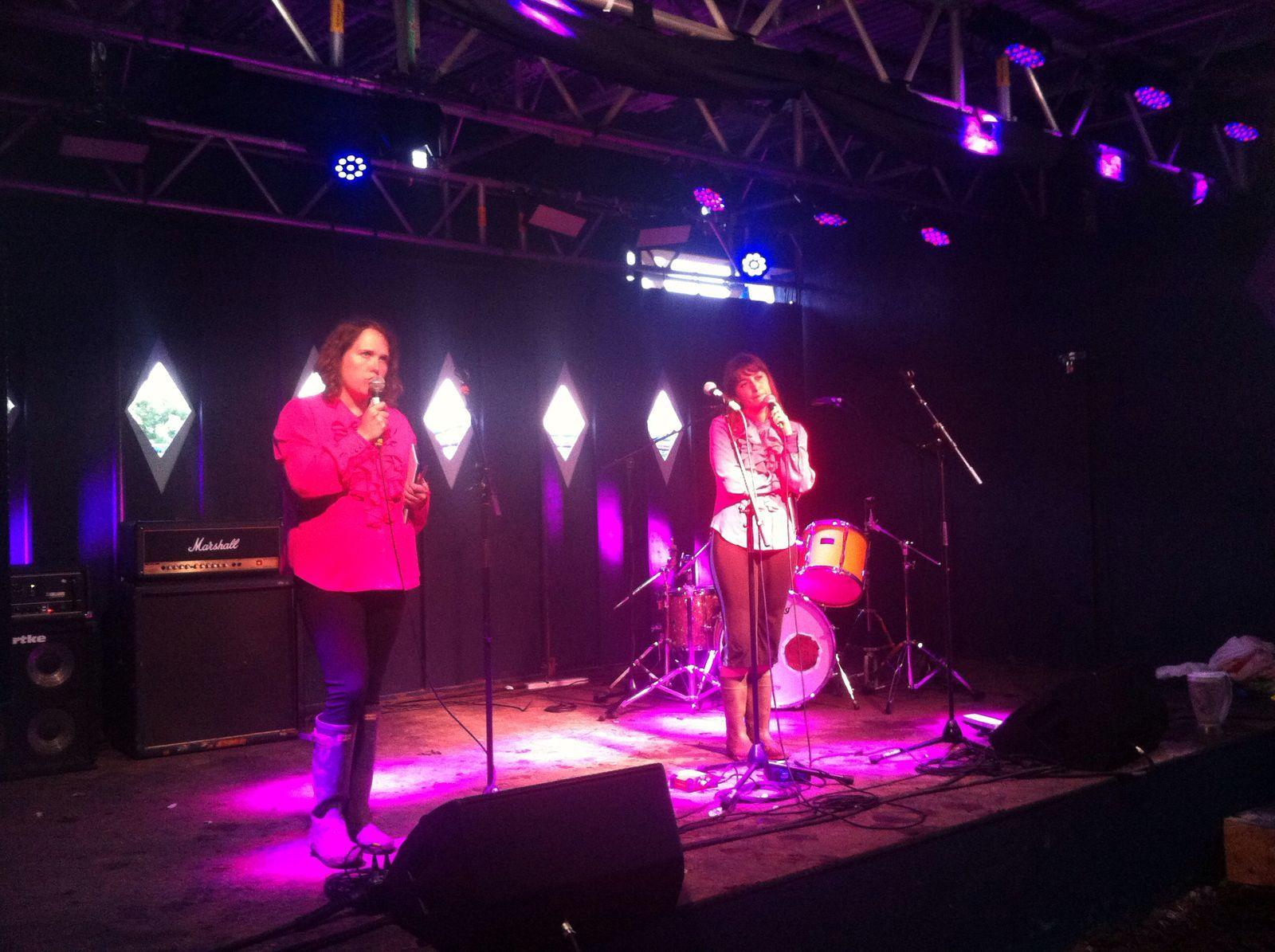 Performing at Glastonbury in wellies