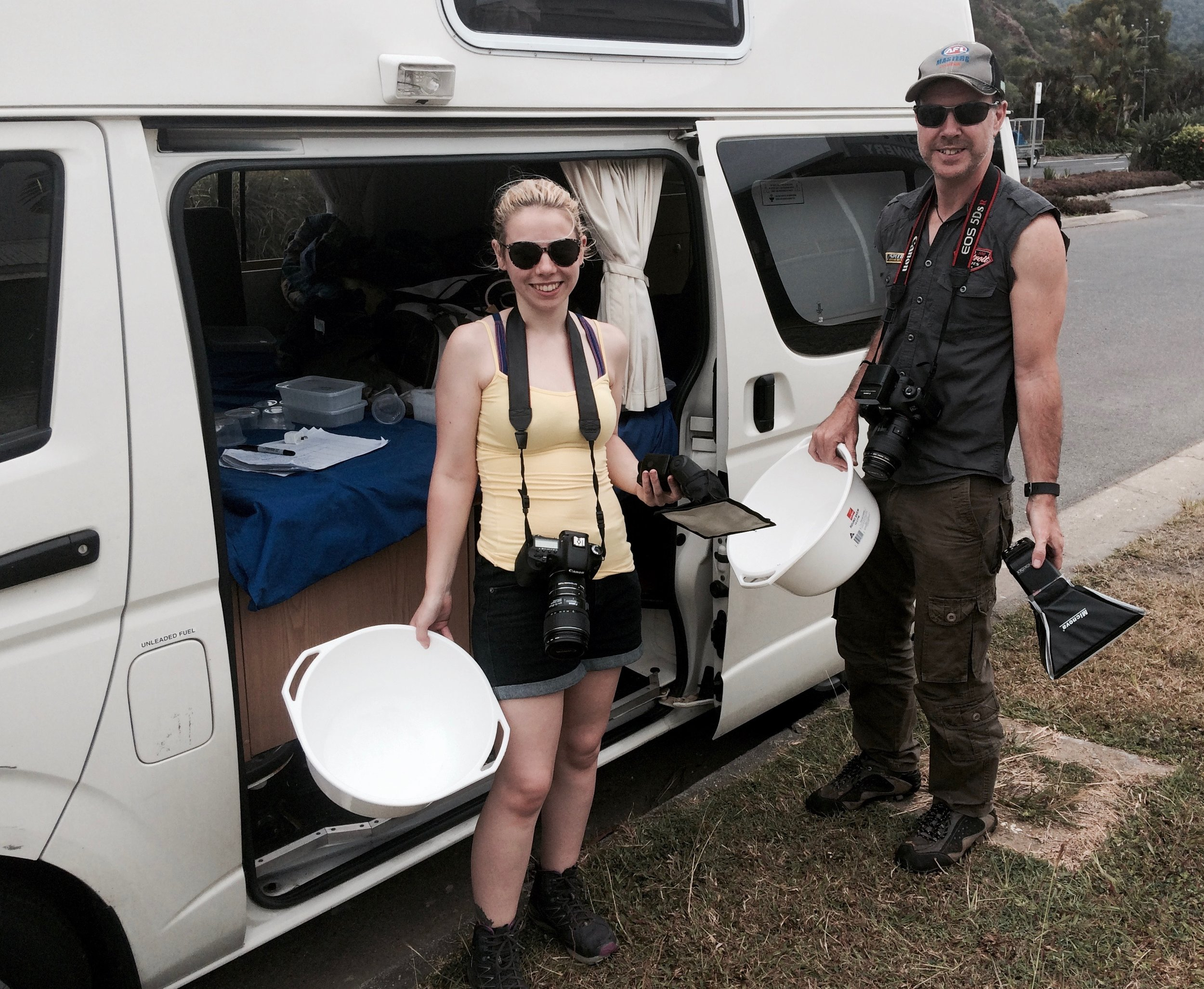 Caitlin and her father Alan Henderson after the completion of their 3,600 km drive to photograph spiders for the app.