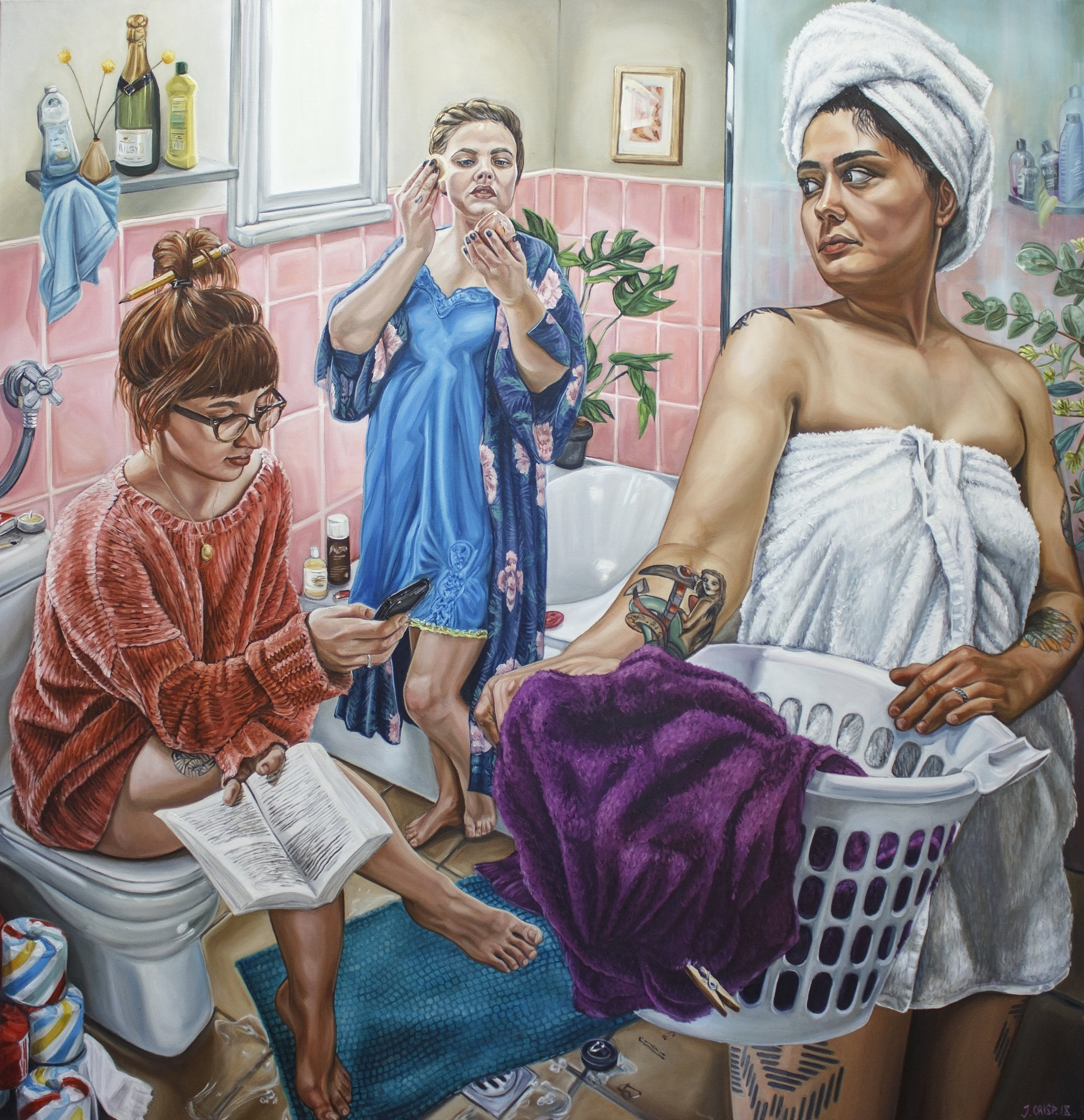 Painting name: My Three Graces Share A Toilet Seat 2018