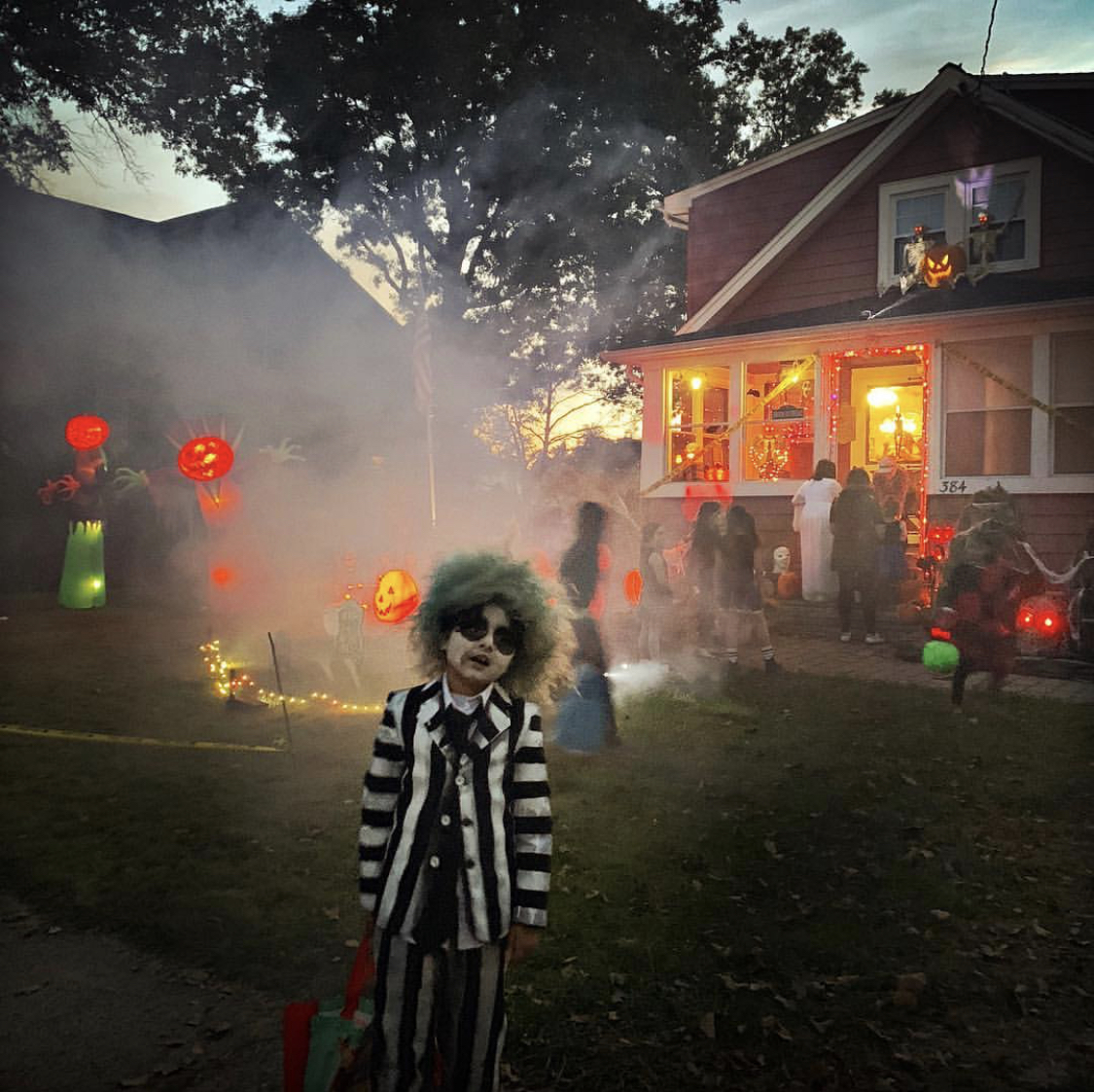 Ayman, dressed as Beetlejuice, out trick-or-treating with friends and family in Dunellen, NJ. October 31, 2018. Pic courtesy: Zoshia Minto.