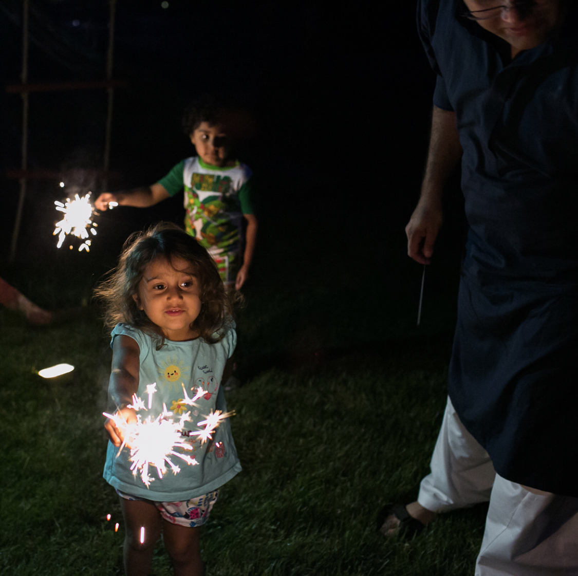 Husna and her cousin have fun with sparklers at an Eid al-Fitr celebration marking the end of Ramadan. June 25, 2017. Pic courtesy: Zoshia Minto.