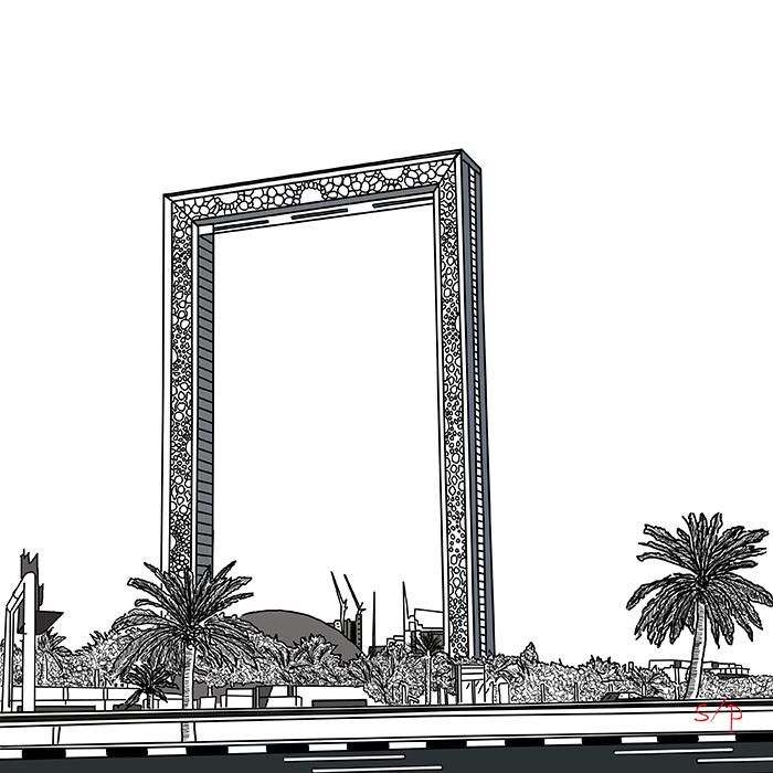 Golden frame, Dubai, UAE.