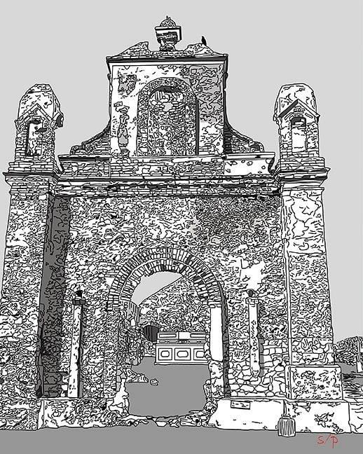 Ruins of a Portuguese church in Dhanushkodi, India.