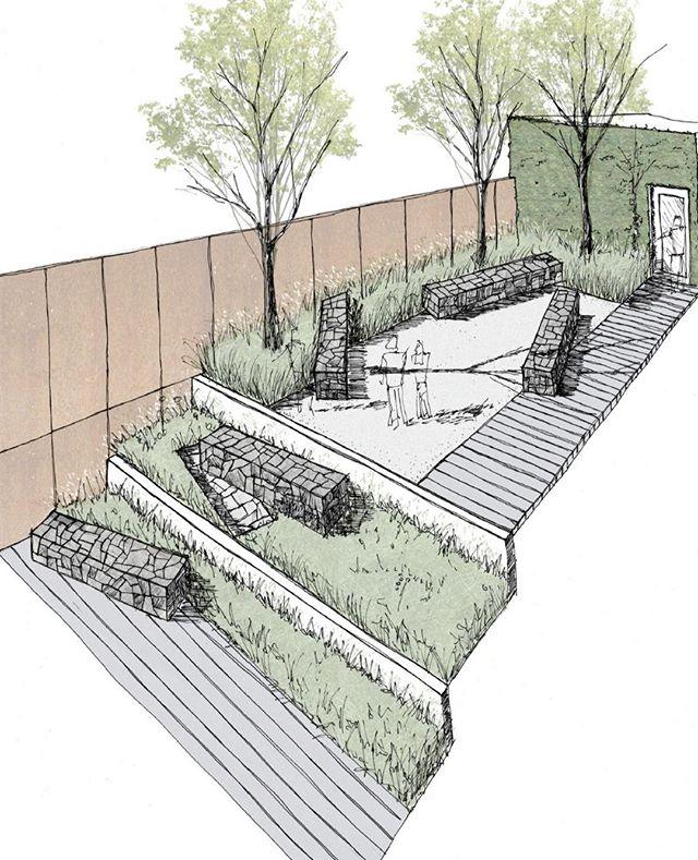 Conceptual Design.  Cascading stone forms flow through the garden⠀ ⠀ #landscapearchitecture ⠀  #minimal #minimalist #design #landscape #garden #gardendesign #architecture #nature