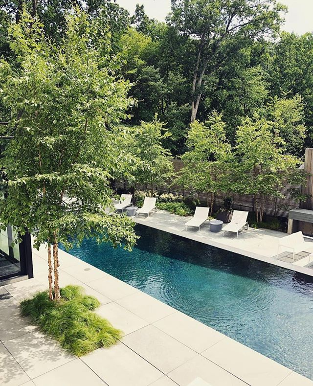 Walking out into the garden, the pool rises out of a grid of large monolithic bluestones and falls into a lower basin  _________________________________ Architect @thomsoncooke designed by @Jordan_Loch_Crabtree while @campionhrubyla #landscapearchitecture #minimal #minimalist #design #landscape #garden #gardendesign #architecture #nature #design