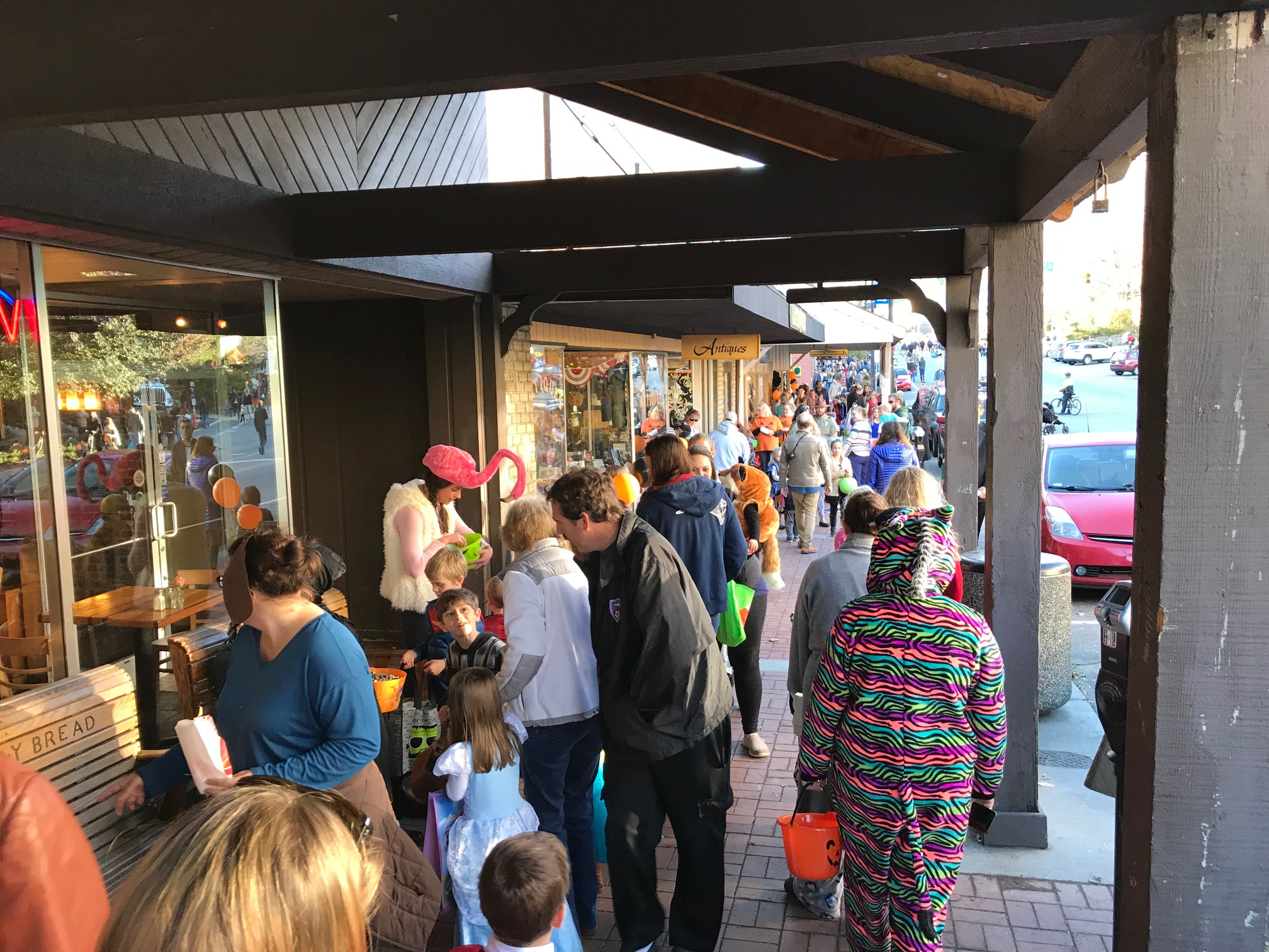 The crowds of families on Halloween on the three blocks of King Street shut down for a two hour candy-rush! Sometimes the frisbees wouldn't fit in a little candy-bucket, but everyone who wanted a free frisbee found a way to haul it with their candy stash!