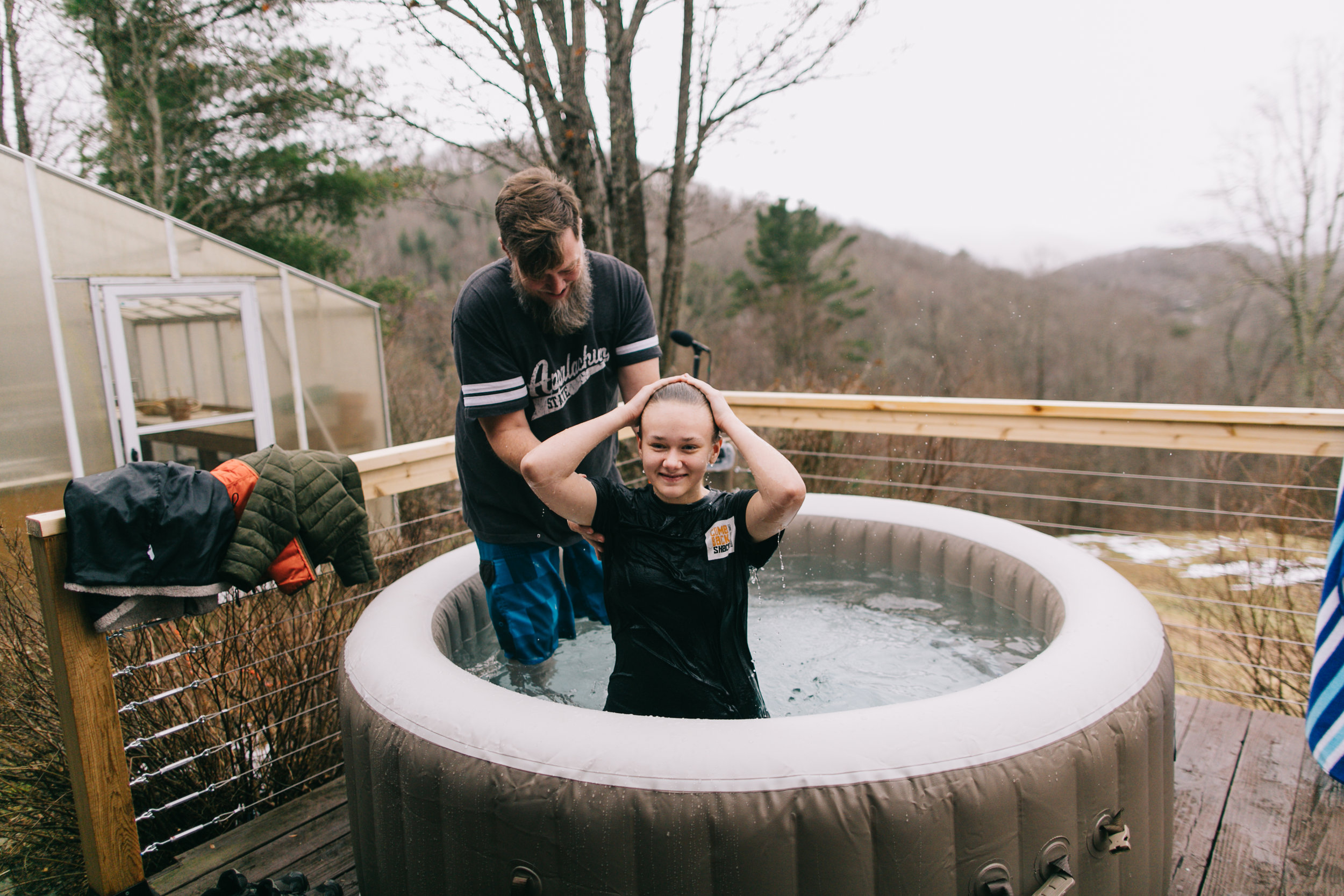 Cloey Hadley, a middle school student at Mountainside, after her dad, Preston, baptized her because of her faith in Jesus.