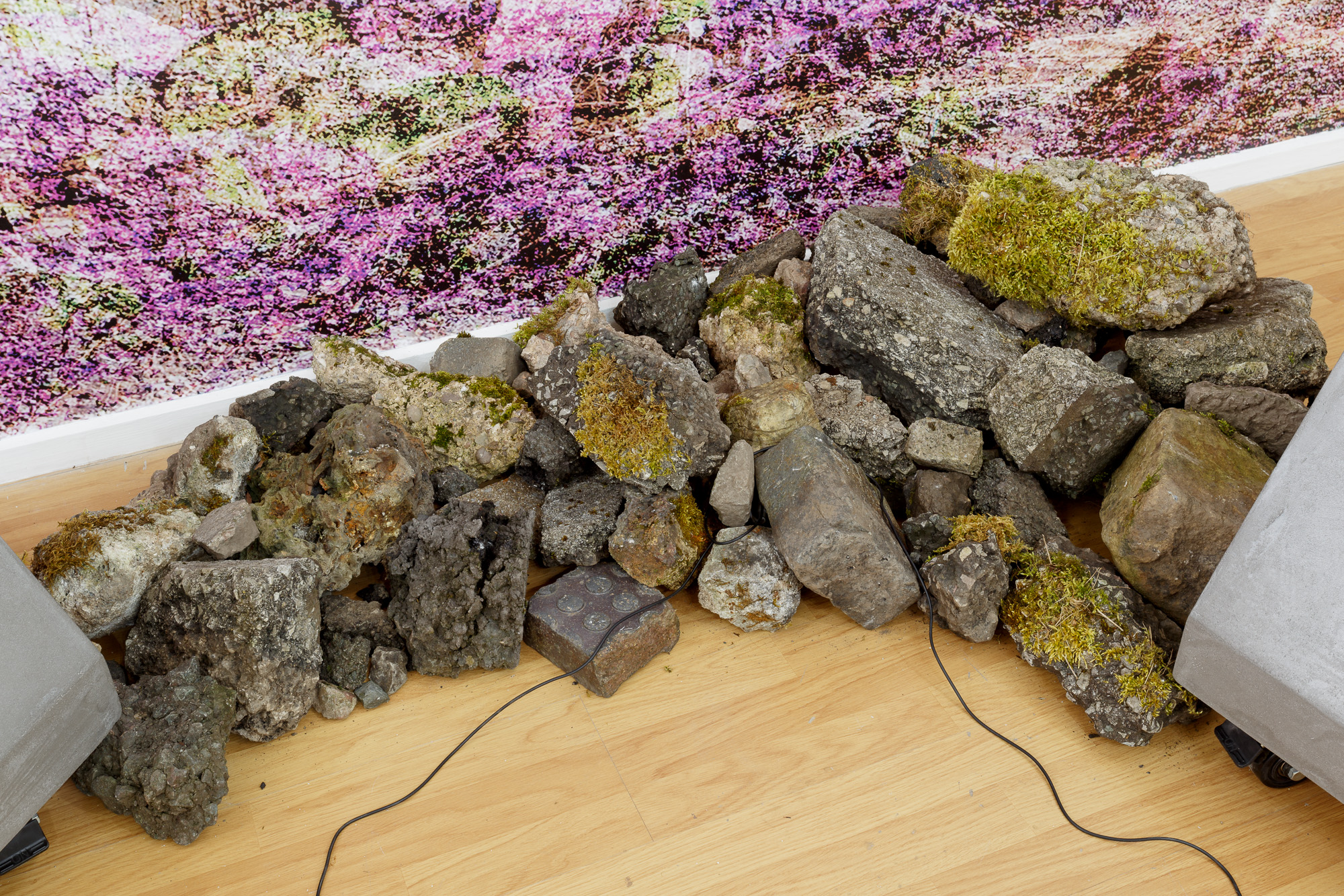 Concrete Island (2017)  Wall sized digital photograph, concrete sculpture, looped sound work, headphones, rubble. Dimensions Variable.  Exhibited at:  Airspace Gallery 5th May to 3rd June 2017.