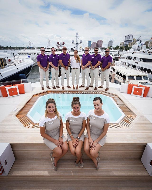 Great crew onboard a new favorite boat of mine 49m m/y Chasseur during this years Palm Beach Show. I'm not one to care much about interiors but this one is mint! Happy Easter weekend everyone! 📸 @luxuryyachtfilms 🛥 @christensenshipyards @burgessyachts 👩🏻‍✈️ @nicole.fawcett @stevenmanee @juliarosecummings . . #yacht #yachtlife #yachtphotography #boat #boatlife #boatshow #ocean #sailing #florida #westpalmbeach #photoshoot #photographer #superyacht #luxurylifestyle #luxury #nomad #nomadlife #travel #explorepage  #design #hottub #imonaboat