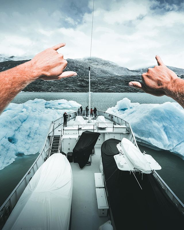 I had never been to Patagonia, and it was way bigger, way more rugged, and way more dramatic then I would have pictured! We were all excited about this big iceberg so we stuck the nose of @mymarcato right into it for some fun pics! 📸 @sheltondupreez of @luxuryyachtfilms for @worthavenueyachts . . #patagonia #chile #southamerica #winteriscoming #iceberg #glacier #motoryacht #explorer #expeditions #expedition #yacht #luxuryyachts #luxurylifestyle #superyacht #offthebeatenpath #yachtie #yachtlife #adventuretime #adventure #explorepage  #igkillers #fatalframes #ig_mood #master_shots #splendid_shotz #createexplore #visualsoflife  #fantastic_earth #shotzdelight #welivetoexplore