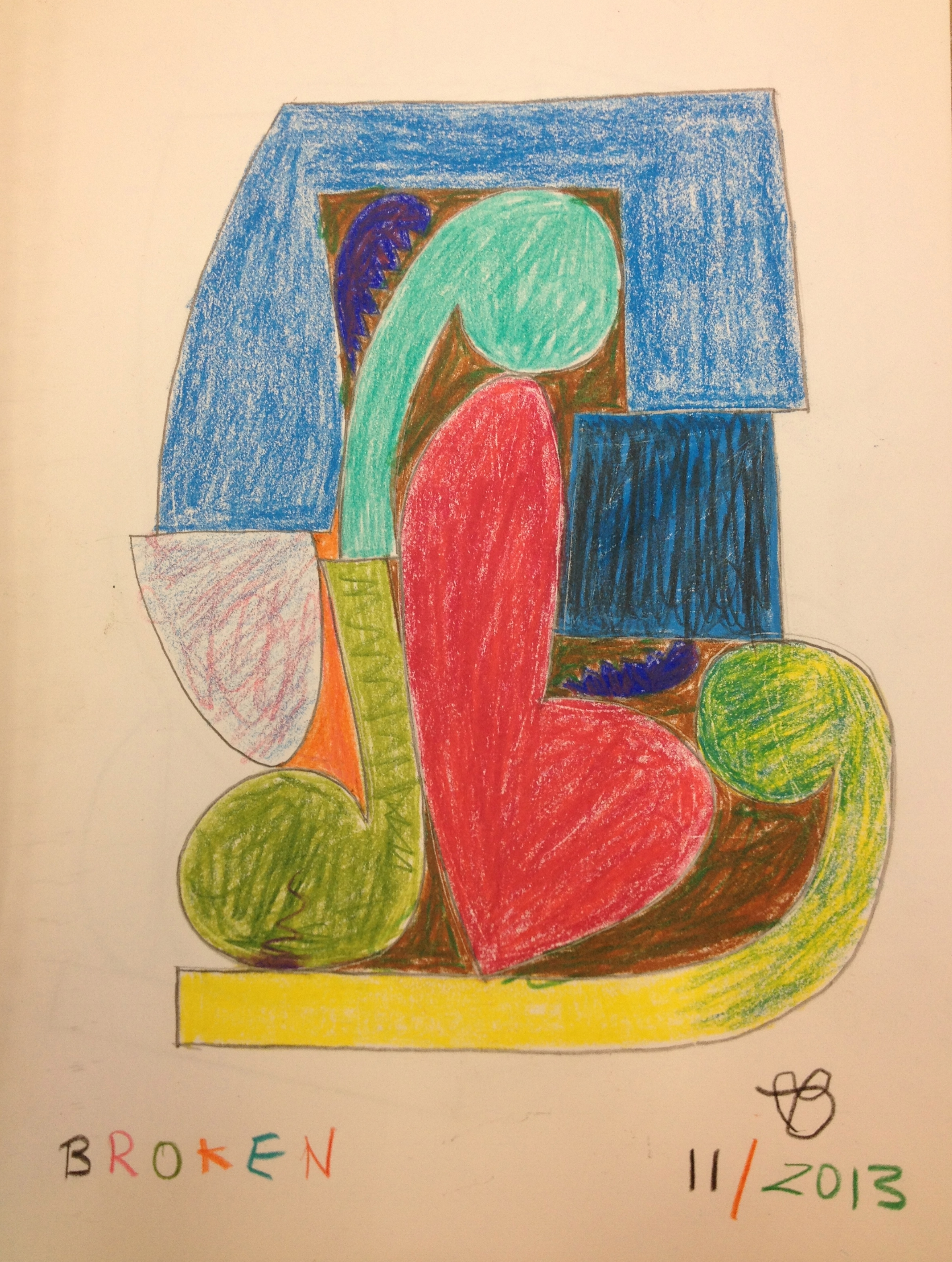 Broken colored pencil on paper
