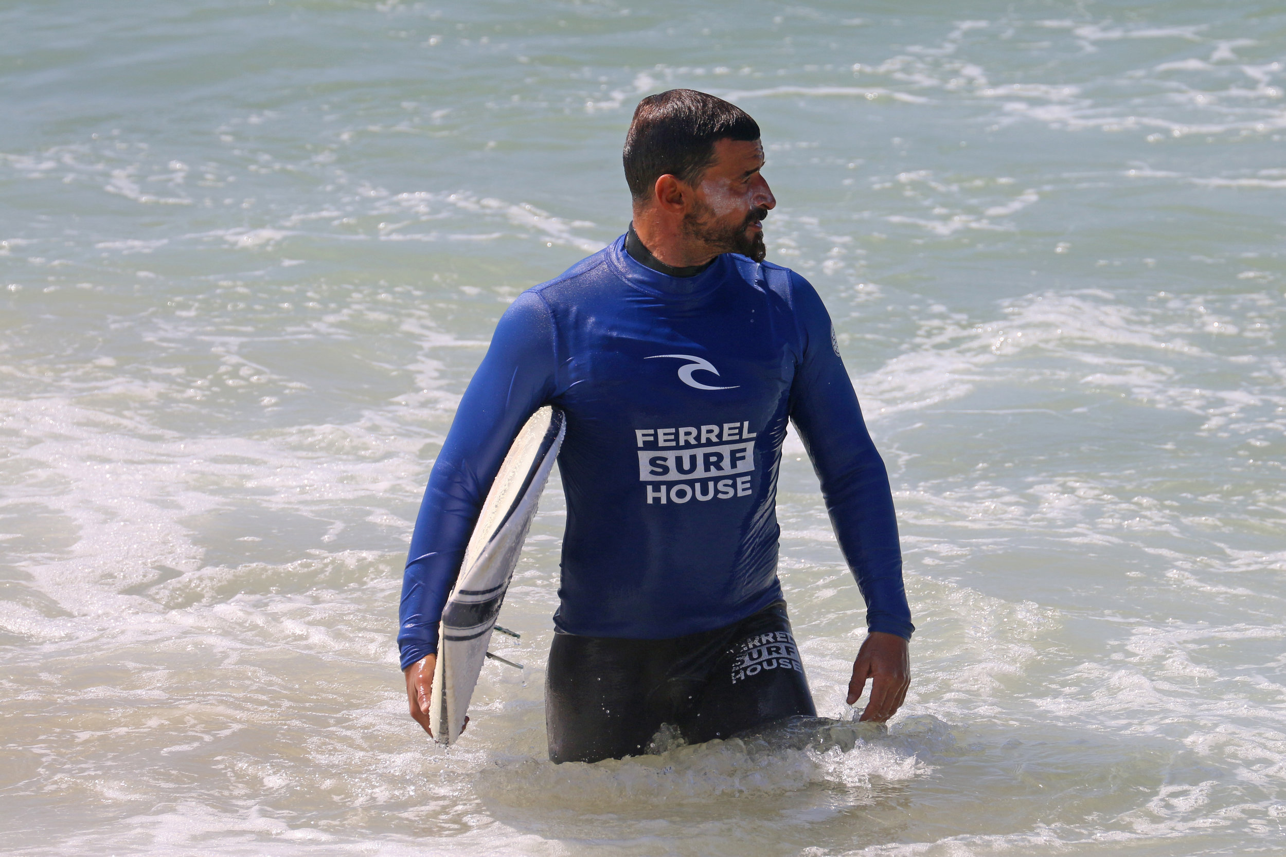 Pedro Feliciano - If there is anyone you can feel safe with in the Portuguese waters, its Pedro. I have never seen an instructor who would protect the space of his students so much and who loves to teach so strongly. Born in South Africa and from Lisbon, he has been surfing for 30 years and has over 10 years of teaching experience in both surfing and cross-fit. He is a good psychologist as well. It is unbelievable, but Pedro observes everyone in the water. Whatever mentality or perception about surfing you arrive to his lesson you will definitely get more than just surfing. You will get a philosophy of life as Pedro shares his wisdom with those who are ready to take it. He teaches you do not expect anything, do not be upset about your progress, do not be obsessed about results. Let you be in the present moment and enjoy it. Trust the ocean and yourself. Relax, avoid panic and respect people in the water more than your ambitions. This is the main rule.
