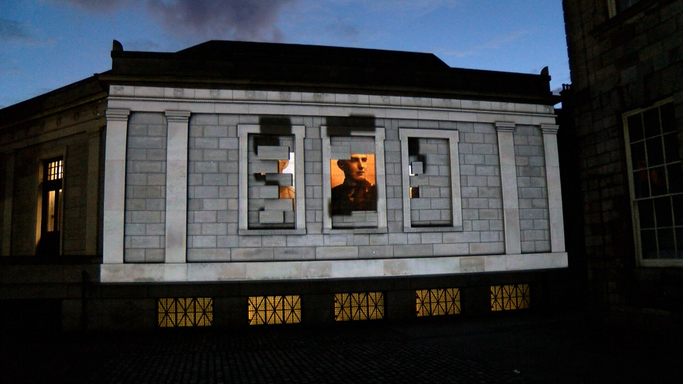 Projection Mapping 2D motion graphics on Trinity College Dublin