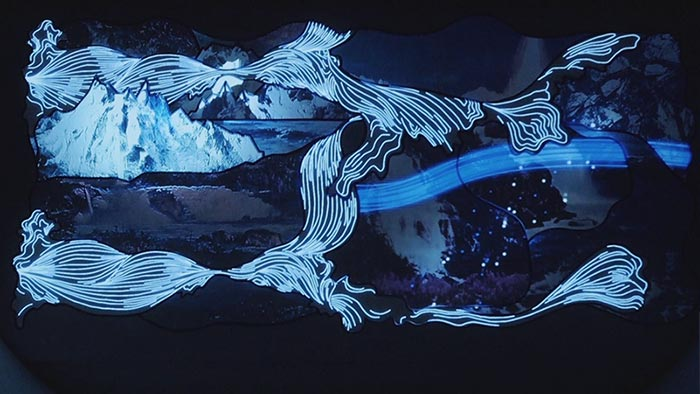 An interactive design concept using 2D and 3D motion graphics with projection mapping