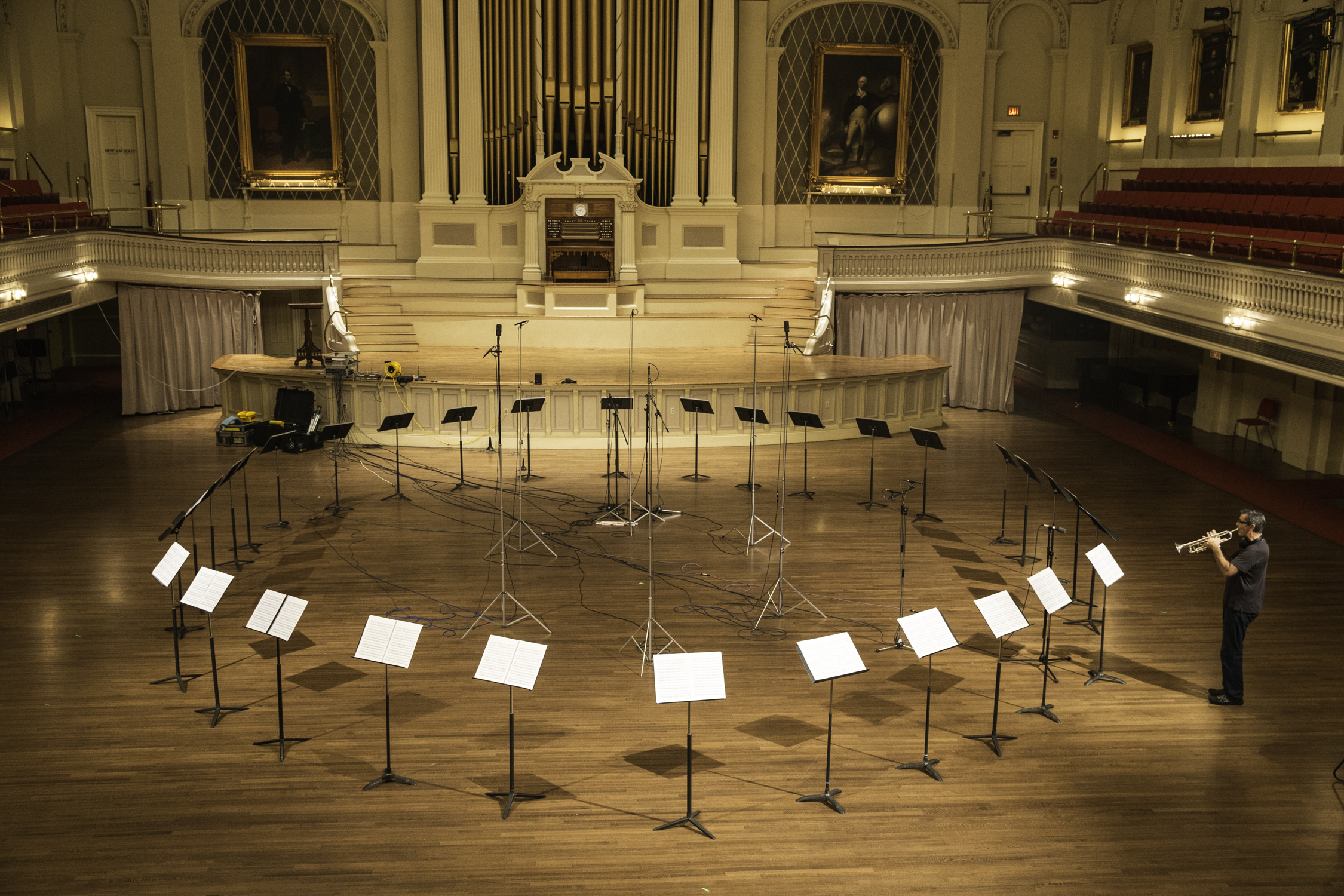 Recording  Piece in the Shape of a Square  in the incredible Mechanics Hall in Worcester, MA. Photo credit: Michael Lutch