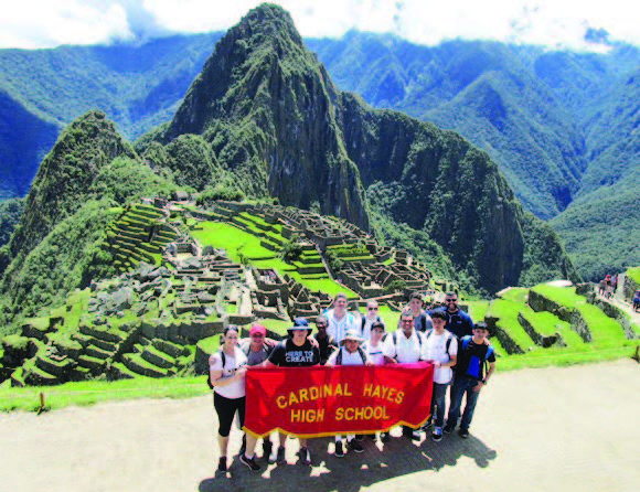 CARDINAL HAYES FACULTY & STUDENTS IN MACHU PICHU  PHOTO: STAFF